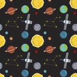 Rocket space globe solar system and planet cosmos sky seamless pattern background vector illustration. Flight spacecraft astronaut exploration travel shuttle Royalty Free Illustration