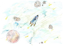 Rocket in the space. Hand-drawn made by colored pencils and watercolors illustration with cute small rocket with meteors and planets in space Royalty Free Illustration