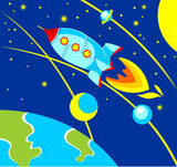 Rocket in Space. Illustration in cartoon style - Rocket fly over the earth Stock Photography