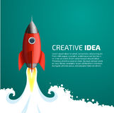 Rocket in space. Rocket launch - starting business idea stock illustration