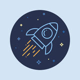 Rocket In Space Line Icon Fotografia Stock Libera da Diritti