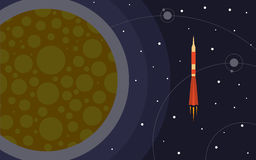 The rocket in space near the planet. Space trip Stock Image