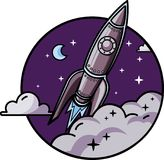 Rocket in Space. A picture of a muscle rocket on the background of sky. fully edditable in Ai and EPS file. suitable for website icon, stickers, etc stock illustration
