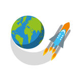 Rocket space with planet earth Royalty Free Stock Photos