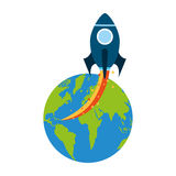 Rocket space with planet earth Royalty Free Stock Image