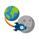 Rocket space with planet earth Stock Photography