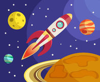 Rocket in space print Royalty Free Stock Photo