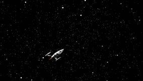 Rocket Space que voa ou que viaja durante todo a animação do universo do espaço profundo ilustração stock
