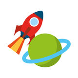 Rocket space with saturn planet Stock Photography