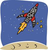 Rocket space ship. Rocket in the space leaving the planet royalty free illustration