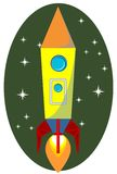 Rocket Space Ship, On Background, Vector Royalty Free Stock Images