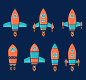 Rocket Space. Ship, On Blue Background, Vector Illustration royalty free illustration