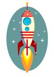 Rocket Space Ship, On Blue Background, Vector Royalty Free Stock Image