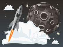 Rocket space ship on dark sky background with moon Stock Photos