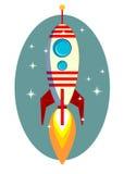 Rocket Space Ship, en fondo azul, vector Imagen de archivo libre de regalías