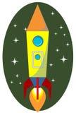 Rocket Space Ship, en fondo, vector Imágenes de archivo libres de regalías