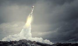 Rocket Space Ship Técnicas mixtas Imagen de archivo