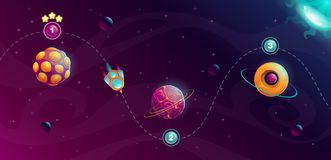 Rocket space trip concept. Galaxy game design. Vector cosmic illustration royalty free illustration