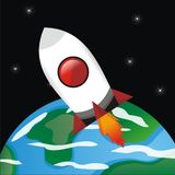 Rocket into Space. Vector Rocket into space from earth, cartoon big resolution, fun, illustration, background, stars, sky, CorelDraw, EPS, fly Royalty Free Stock Photography