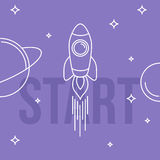 Rocket space vector illustration. Linear design. Start up concep Stock Images