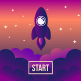Rocket space vector illustration. Royalty Free Stock Images