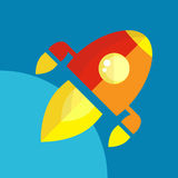 Rocket Or Spaceship Flat Icon Immagini Stock