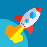 Rocket Or Spaceship Flat Icon a isolé Images libres de droits
