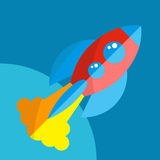 Rocket Or Spaceship Flat Icon a isolé Photos libres de droits