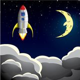 Rocket spaceship in sky Stock Photography
