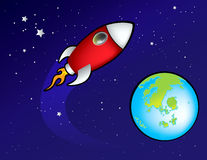 Rocket spaceship in space Royalty Free Stock Image