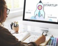 Rocket Spaceship Startup Business Strategy diagrambegrepp Arkivbild