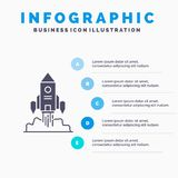 Rocket, spaceship, startup, launch, Game Infographics Template for Website and Presentation. GLyph Gray icon with Blue infographic. Style vector illustration stock illustration