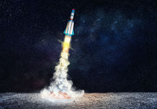 Rocket spaceship takes off. 3D illustration elements Royalty Free Stock Photo