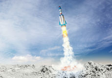 Rocket spaceship takes off. 3D illustration elements Royalty Free Stock Images