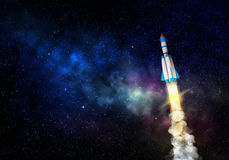 Rocket spaceship takes off. Mixed media with 3D illustration elements Royalty Free Stock Photos