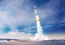 Rocket spaceship takes off. Mixed media with 3D illustration elements. Rocket spaceship takes off the ground to the blue sky. Mixed media with 3D illustration Stock Image