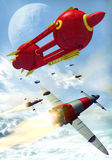 Rocket spaceships battle royalty free stock photo
