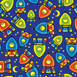 Rocket-Spielzeug des nahtlosen Musters Lizenzfreie Stockfotografie