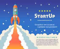 Rocket start background. Space rocket ship start up cartoon futuristic background with stars on background vector illustration vector illustration