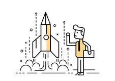 Rocket startup, Businessman control space shuttle. Flat line design elements. vector illustration stock illustration
