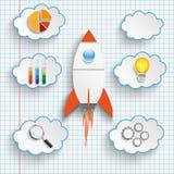 Rocket Startup Clouds With Icons a vérifié le papier illustration stock