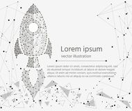 Rocket startup, concept of success.isolated from low poly wireframe on white background. Vector abstract polygonal image Royalty Free Stock Photography