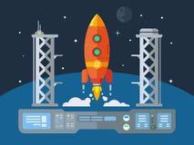 Rocket Startup Flat Desing Concept. Illustration in retro style stock illustration