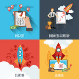 Rocket startup flat square composition poster Stock Photography