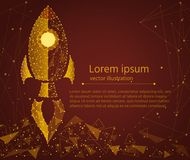 Rocket startup,in the form of golden sand.isolated from low poly wireframe background.business concept, Vector abstract. Rocket startup,in the form of golden Royalty Free Stock Photography