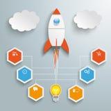 Rocket Startup Infographic Images libres de droits