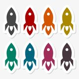 Rocket stickers set. Vector icon Stock Images