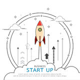Rocket style in business concept flat line design. Stock Images