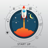 Rocket style in flat line and paper art design. Start up business concept.Rocket style in flat line and paper art design.Vector illustration Stock Photography