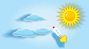 Rocket, sun and clouds in the sky. Royalty Free Stock Photos